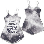 I just want eat pizza and watch horror movies 3D Designed Allover Gift For horror movies lovers Romper Jumpsuit