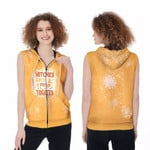 Witches gotta stick together gold 3D Designed Allover Gift For Halloween Holiday Lovers Zip Sleeveless Hoodie