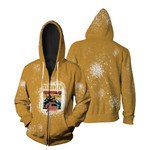 Halloween Time Night Castle Gold 3D Designed Allover Gift For Halloween Holiday Lovers Zip Hoodie