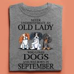 Never underestimate an old lady who loves dog was born in september cute beagle birthday Tshirt gift for september girl beagle lovers Tshirt