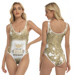 Trick And Treat Halloween Pumpkins Olive Drop Painting 3D Designed Allover Gift For Halloween Holiday Lovers One Piece Swimsuit