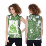 Halloween Castle Ghost White Green Drop Painting 3D Designed Allover Gift For Halloween Holiday Lovers Sleeveless Dress