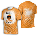Coolest Pumpkin In The Patch Orange Drop Painting 3D Designed Allover Gift For Halloween Holiday Lovers 3D T-shirt