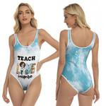 Teach Love Inspire Sunflower Vintage Blue Drop Painting 3D Designed Allover Gift For Teachers One Piece Swimsuit