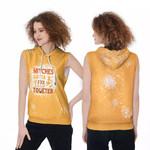 Witches gotta stick together gold 3D Designed Allover Gift For Halloween Holiday Lovers Sleeveless Dress