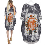 Happy Halloween Horror Pumpkins Witch Black 3D Designed Allover Gift For Halloween Holiday Lovers Batwing Pocket Dress