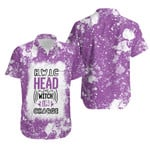 HWIC head witch in charge White Purple Drop Painting 3D Designed Allover Gift For Halloween Holiday Lovers Hawaiian Shirt