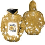 Teach Love Inspire Sunflower Vintage Gold Drop Painting 3D Designed Allover Gift For Teachers Hoodie