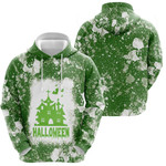 Halloween Castle Ghost White Green Drop Painting 3D Designed Allover Gift For Halloween Holiday Lovers Hoodie