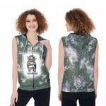 Autism Mom Life Lady Green Drop Painting 3D Designed Allover Gift For Autism Fighters Zip Sleeveless Hoodie