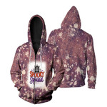 Spooky Squad Ghost Drop Painting Purple 3D Designed Allover Gift For Halloween Holiday Lovers Zip Hoodie