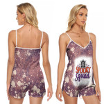 Spooky Squad Ghost Drop Painting Purple 3D Designed Allover Gift For Halloween Holiday Lovers V-neck Romper Jumpsuit