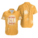 Witches gotta stick together gold 3D Designed Allover Gift For Halloween Holiday Lovers Hawaiian Shirt