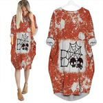 Boo Skull Skeleton Cute Halloween Spider Orange White Drop Painting 3D Designed Allover Gift For Halloween Holiday Lovers Batwing Pocket Dress