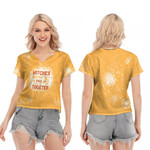Witches gotta stick together gold 3D Designed Allover Gift For Halloween Holiday Lovers V-neck Short Sleeve Blouse
