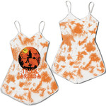 Trick Or Read Pumpkins A Witch Flying Night White Orange Drop Painting 3D Designed Allover Gift For Halloween Holiday Lovers Romper Jumpsuit