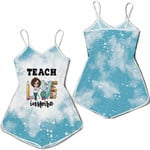 Teach Love Inspire Sunflower Vintage Blue Drop Painting 3D Designed Allover Gift For Teachers Romper Jumpsuit