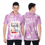 Happy first day of School Books Pencils Pink White Drop Painting 3D Designed Allover Gift For School Students Short Sleeve Hoodie
