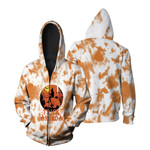 Trick Or Read Pumpkins A Witch Flying Night White Orange Drop Painting 3D Designed Allover Gift For Halloween Holiday Lovers Zip Hoodie