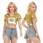 Teach Love Inspire Sunflower Vintage Gold Drop Painting 3D Designed Allover Gift For Teachers V-neck Lapel Blouse