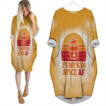 Pumpkin Spice AF Ice Cream Vintage Gold White Drop Painting 3D Designed Allover Gift For Halloween Holiday lovers Batwing Pocket Dress