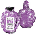 HWIC head witch in charge White Purple Drop Painting 3D Designed Allover Gift For Halloween Holiday Lovers Hoodie