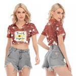 Teach Love Inspire Sunflower Vintage Red Drop Painting 3D Designed Allover Gift For Teachers V-neck Lapel Blouse