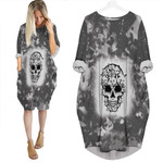 Halloween Funny Cats Made Skull Smoke Black 3D Designed Allover Gift For Halloween Holiday Lovers Batwing Pocket Dress