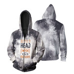 HWIC head witch in charge Smoke Black Drop Painting 3D Designed Allover Gift For Halloween Holiday Lovers Zip Hoodie