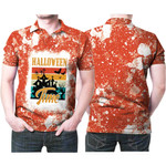 Halloween Time Ghost Castle White Orange Drop Painting 3D Designed Allover Gift For Halloween Holiday Lovers Polo shirt