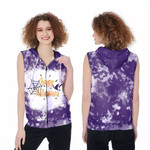 Happy Halloween Witch Pumpkins Purple 3D Designed Allover Gift For Halloween Holiday Lovers Zip Sleeveless Hoodie