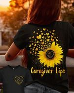 Caregiver life the girl forced it to stand in front of the sunflower field t shirt best gift for sunflower lovers Tshirt