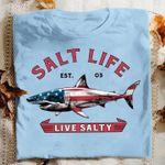 salt life live salty shark american flag patriot t shirt novelty gift for shark week fans Tshirt