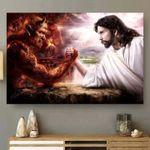Devil Of Hell & Jesus Of Heaven Arm Wrestling Poster Gift For Jesus Christ Believers Poster