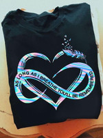 as long as i breathe you will be remembered heart feather t shirt best gift for him for her Tshirt