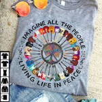 Imagine the people living life in peace guitar hippie symbol t shirt gift for guitar and hippie lovers Tshirt