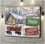may your troubles be less and blessings more and nothing but happiness dog in car white snow poster canvas best gift for jesus lovers Poster