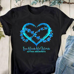 Blue heart shape love needs no word t shirt gift for autism prevention support Tshirt