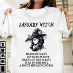 January witch hated by many loved by plenty heart on her sleeve t shirt gift for january witch Tshirt