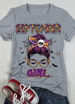 Septmber girl wear skull hair tie spider web t shirt gift for women born in september Tshirt