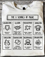 The 8 schools of magic abjuration illusion enchanthent divination evocation t-shirt gift for magic lovers magicians Tshirt