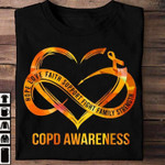 hope love faith support fight family strength copd support heart ribbon t shirt best gift for him for her Tshirt
