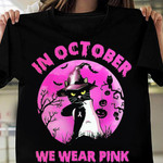 in october we wear pink cat wearing pink moon witch hat halloween t shirt best gift for halloween lovers Tshirt