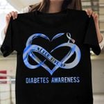 never give up diabetes support heart infinity ribbon show the brave t shirt best gift for him for her Tshirt