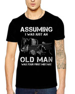 Assuming i was just an old man was your first mistake funny t shirt gift for old man love guitar Tshirt