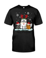 Merry fluffmas with funny cat under snowing in winter at Christmas Tshirt gift for cat lovers Tshirt