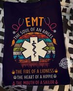 emt the soul of an angle the fire of a lioness t shirt best gift for him for her Tshirt