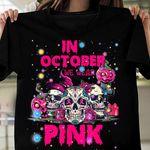 in october we wear pink decorated skulls welcome the festival pumpkin halloween t shirt best gift for halloween lovers Tshirt