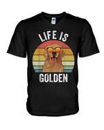 Life is golden funny happy glden retriever Tshirt gift for golden retriever lovers dog lovers Tshirt