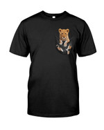 Cute lovely little wild lion in pocket Tshirt gift fot lion lovers lion enthusiasts Tshirt